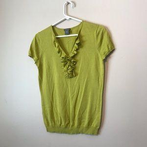 Ann Taylor ruffles lime green silk top blouse